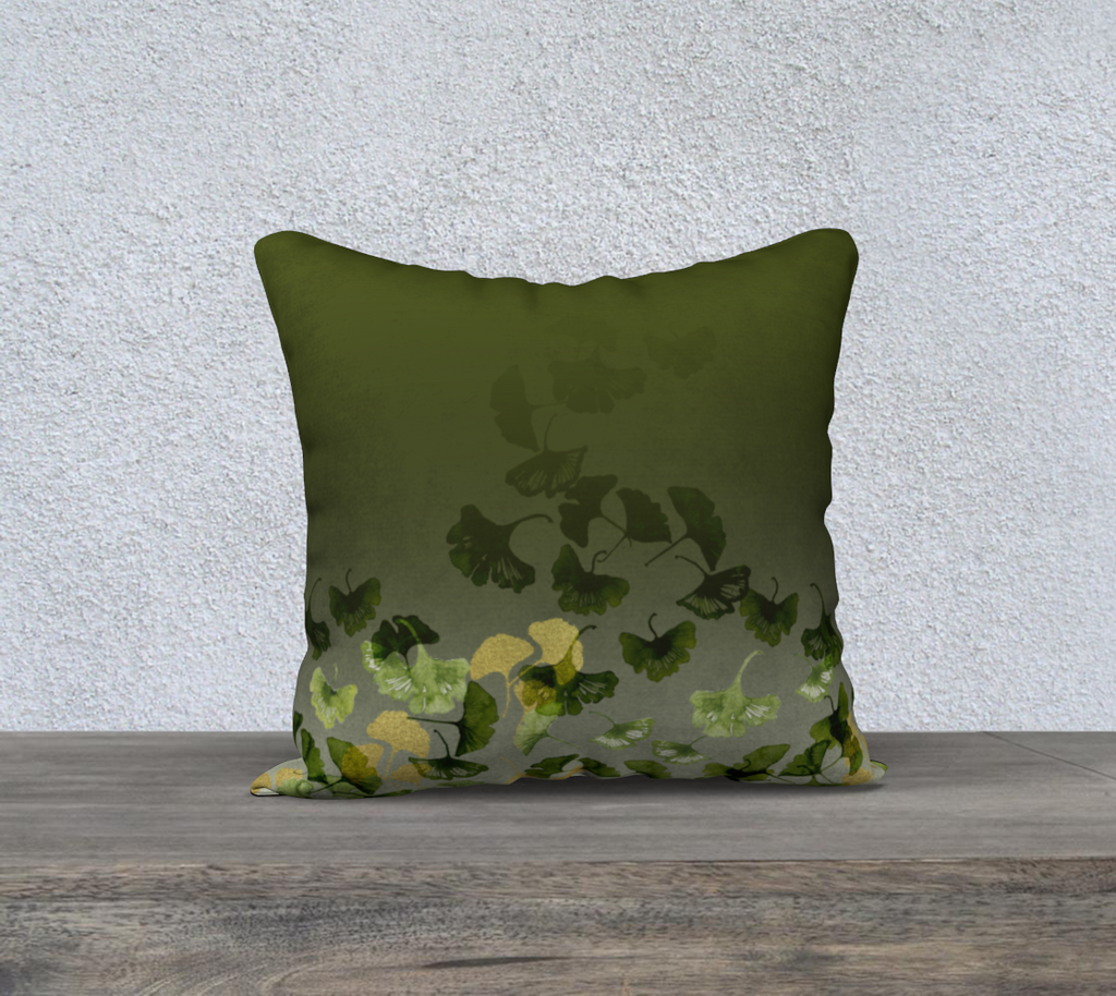 Ginkgo and Gold 18x18 Pillow Cover