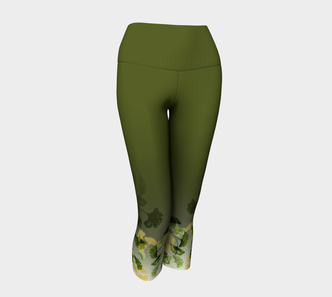 Ginkgo Green and Gold Yoga Capris