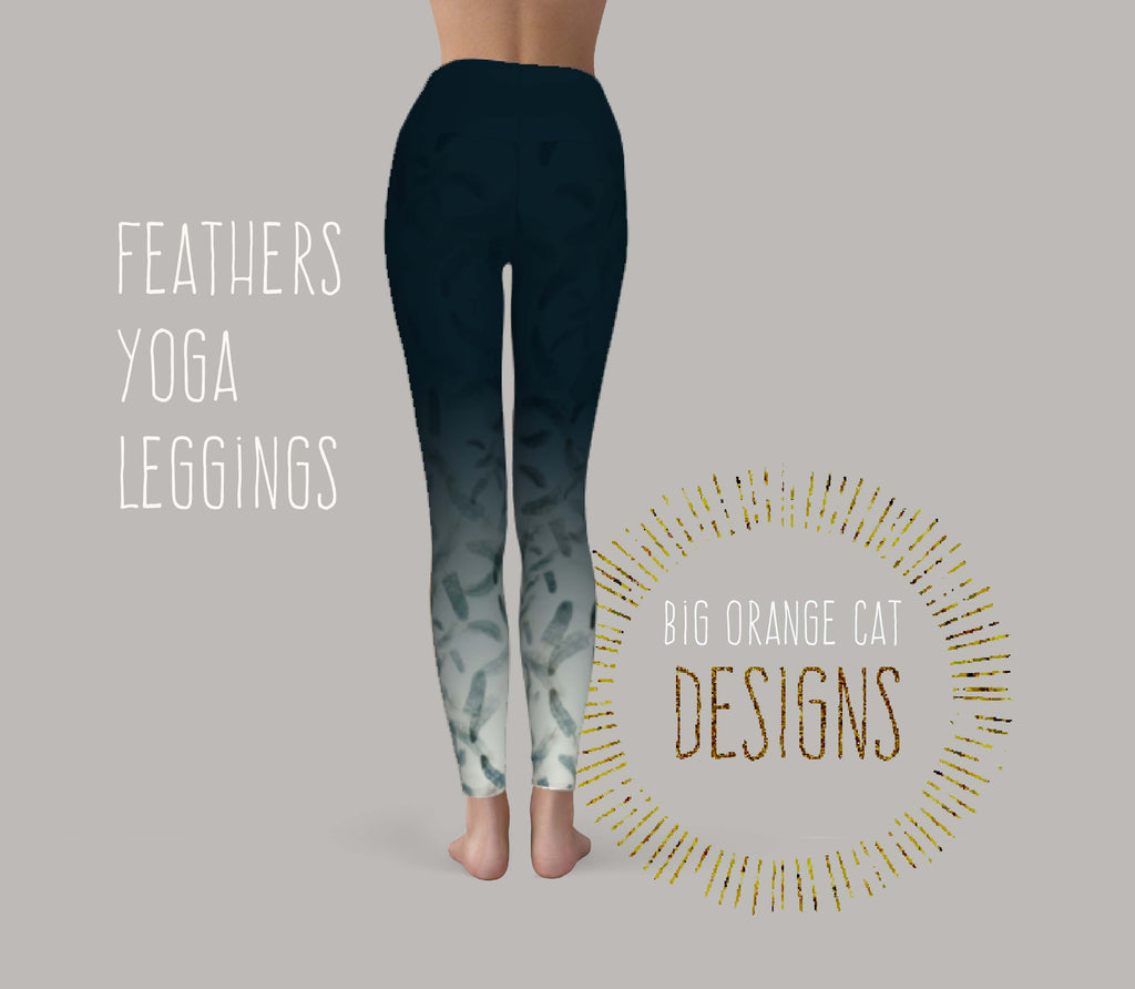 Feathers Yoga Leggings (Blue)