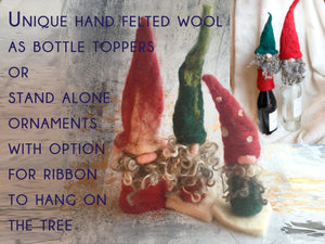 Hand Felted Gnomes - Table Top, Hanging Ornaments or Bottle Topplers