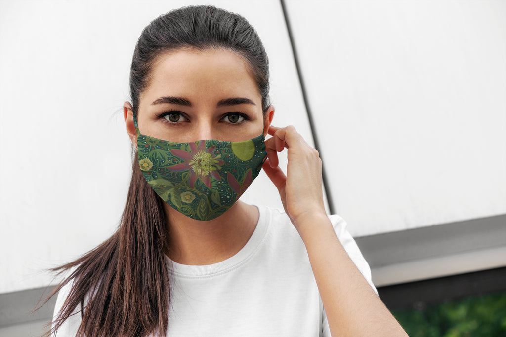 Green Flowers Reversible Soft Stretch Organic Cotton Mask with Nose Wire