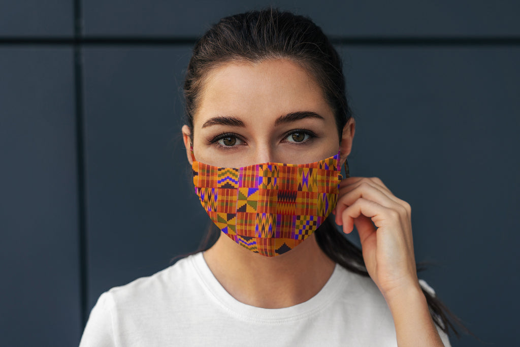 Kente Cloth Reversible Soft Stretch Organic Cotton Mask with Nose Wire