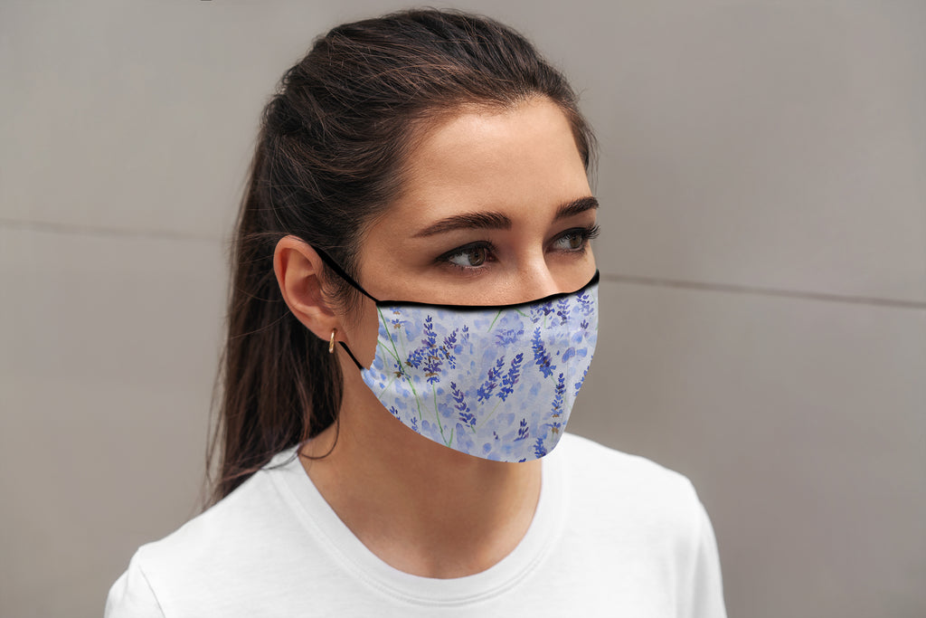 Lavender Face Mask with Inside Pocket and Nose Wire