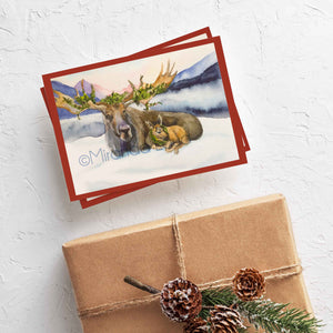 "Holiday moose and baby moose card ""Peace"""