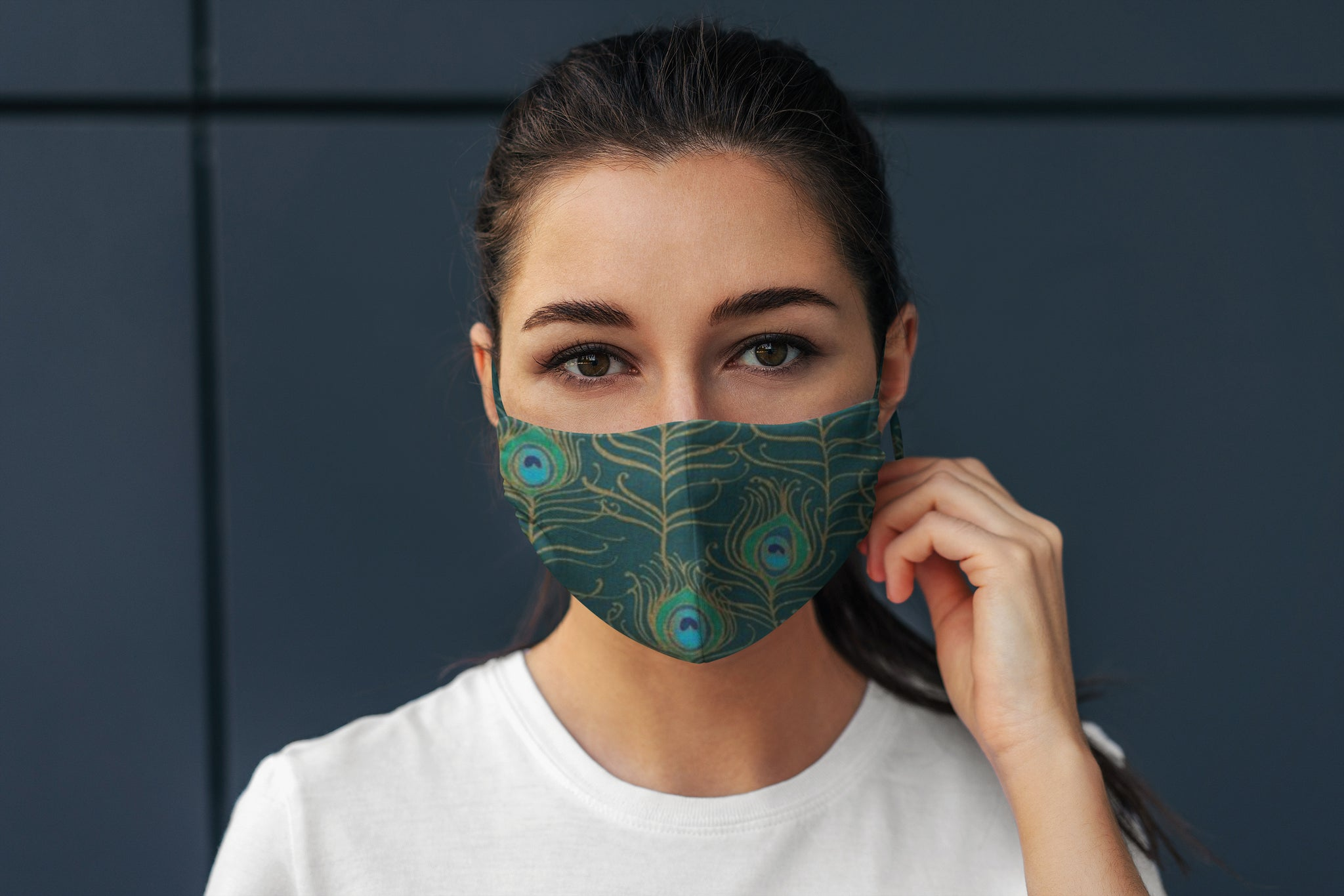Peacock Feathers Reversible Soft Stretch Organic Cotton Mask with Nose Wire