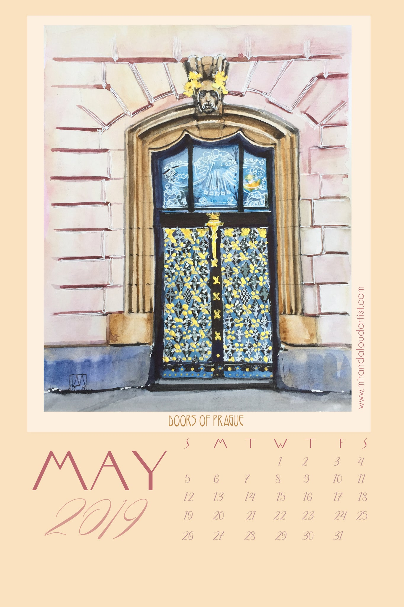 2019 Doors of Prague Desk Calendar - Watercolors by Miranda Loud