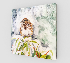 Song Sparrow in the Snow Gallery Wrapped Canvas
