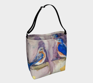 Bluebirds with Gold Soft Neoprene Tote