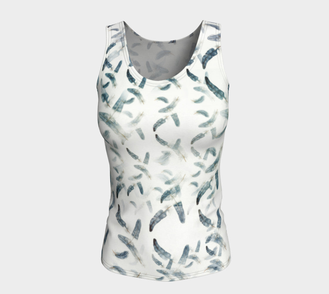 Fitted Tank Feathers Design in Blue/Green (Long)