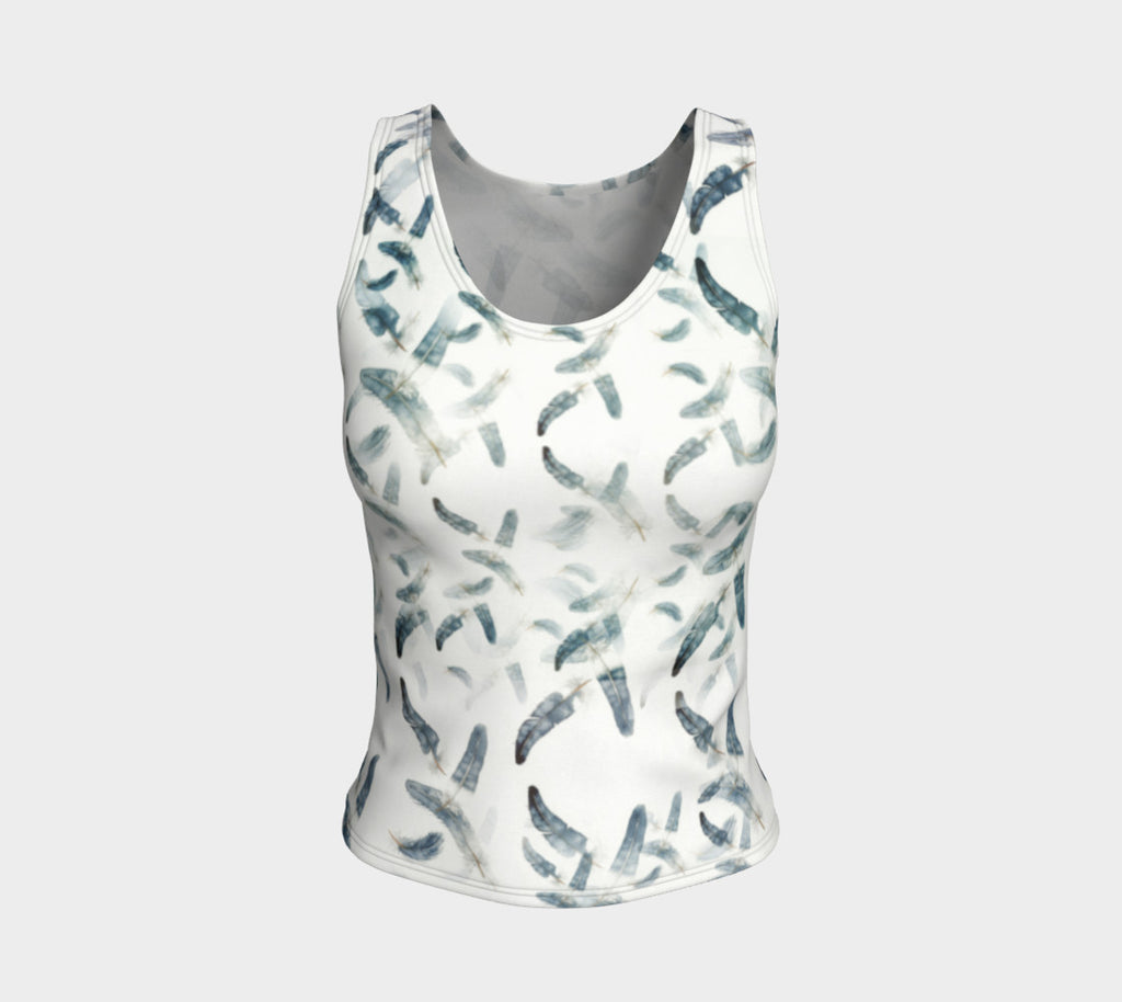 Fitted Tank Feathers Design Blue/Green (Regular)