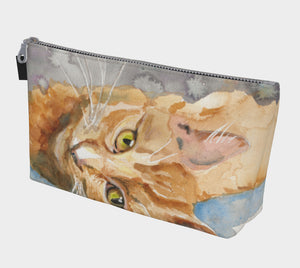 Big Orange Cat Makeup Bag/Clutch