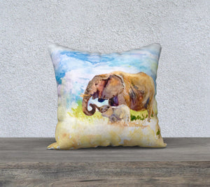 "Elephant Love Pillow Cover 18""x18"""