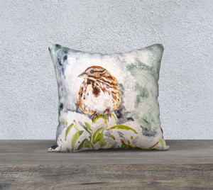"Song Sparrow 18""x18"" Pillow Cover"