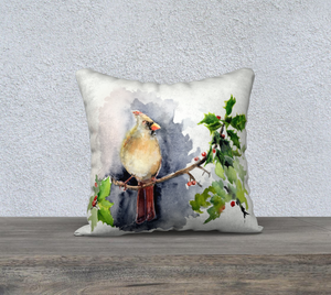 "Female Cardinal Pillow Cover 18""x18"""