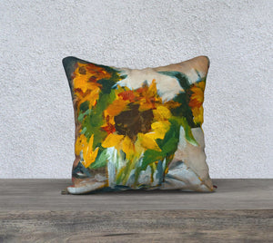 "Sunflowers in a Vase 18""x18"" Pillow Cover"