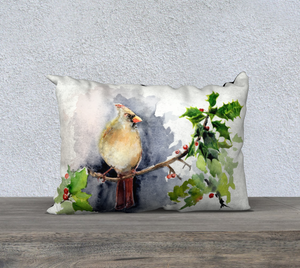 "Female Cardinal Pillow Cover 20""x14"""