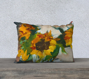 "Sunflowers in a Vase 20""x14"" Pillow Cover"