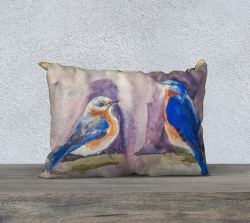 Bluebirds and Gold Pillow Cover 20