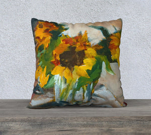 "Sunflowers in a Vase 22""x22"" Pillow Cover"