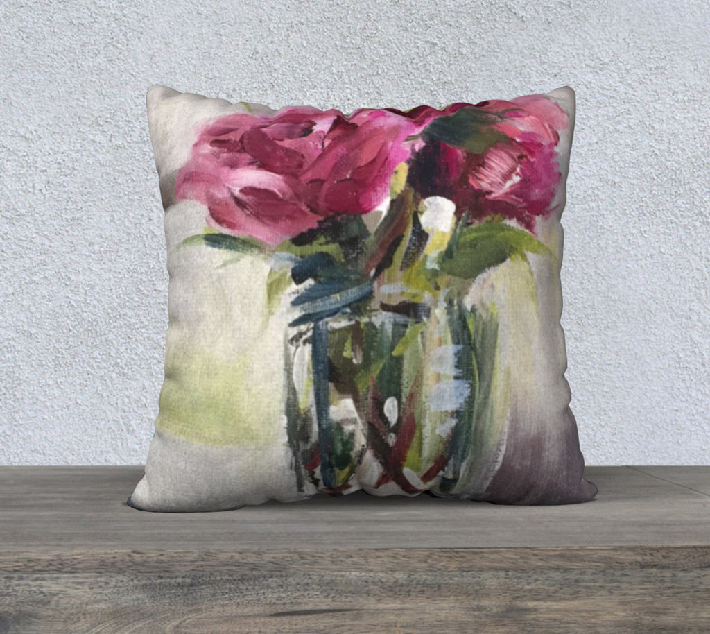 "Roses on the Piano 22""x22"" Pillow Cover"