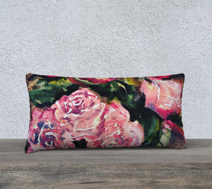 "Roses Pillow Cover 24""x12"""
