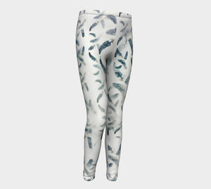 Blue Green Feather Kids' Leggings (ages 4-12)