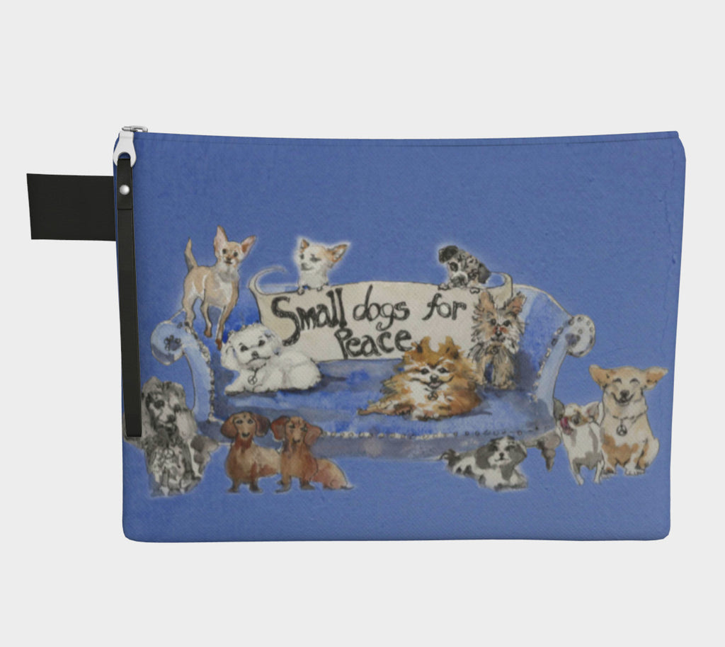 Small Dogs For Peace Clutch Carryall