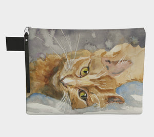 Big Orange Cat Zipper Clutch Carryall