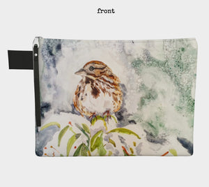 Song Sparrow and Thrush in the Snow Clutch Carryall