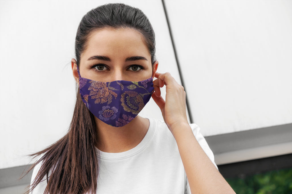 Purple Flowers Soft Stretch Organic Cotton Mask with Nose Wire