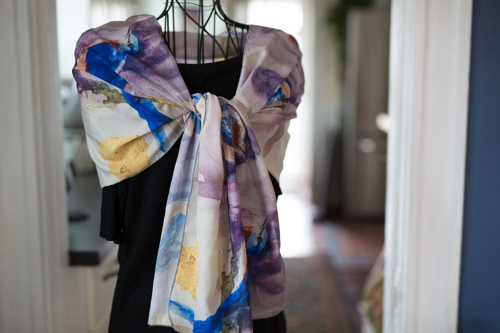 Bluebirds and Gold Pure Habotai Silk Scarf in Two Lengths