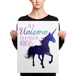 Unicorn in a Field of Horses Canvas - Honey Butter Company