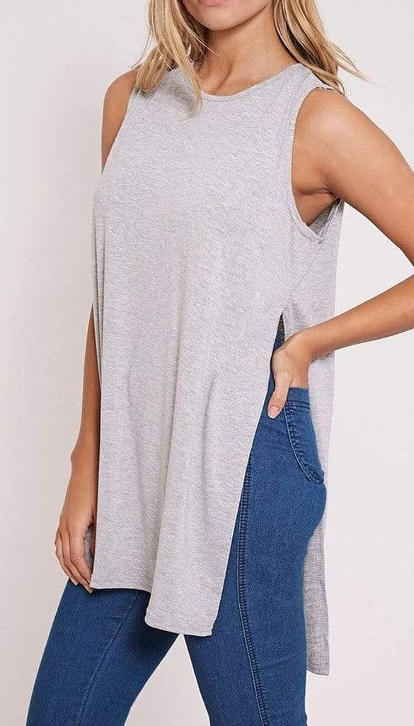 Jersey Split Vest In Grey - omgfashion.com