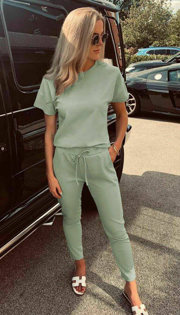 Boxy Short Sleeved Loungewear Set Two Piece