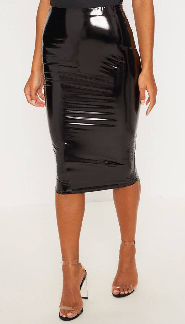 Black Vinyl Bodycon Midi Skirt