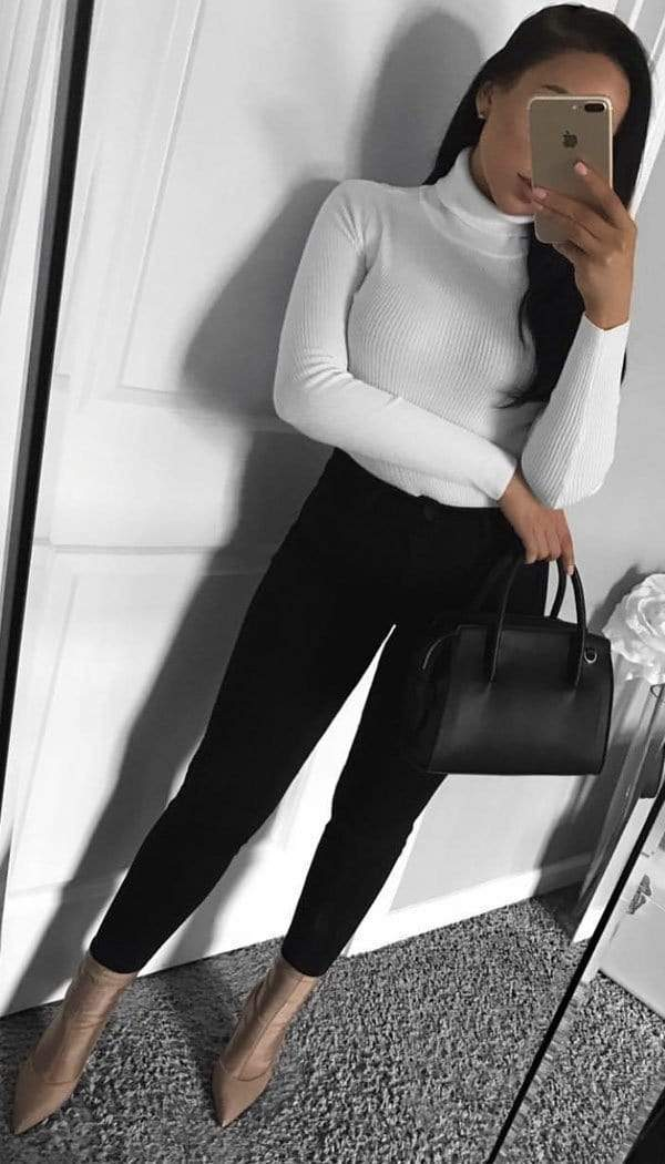 Long Sleeved Ribbed Polo Neck Top (50% OFF SALE)