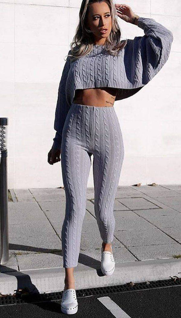 Cable Batwing Knitted Legging Two Piece