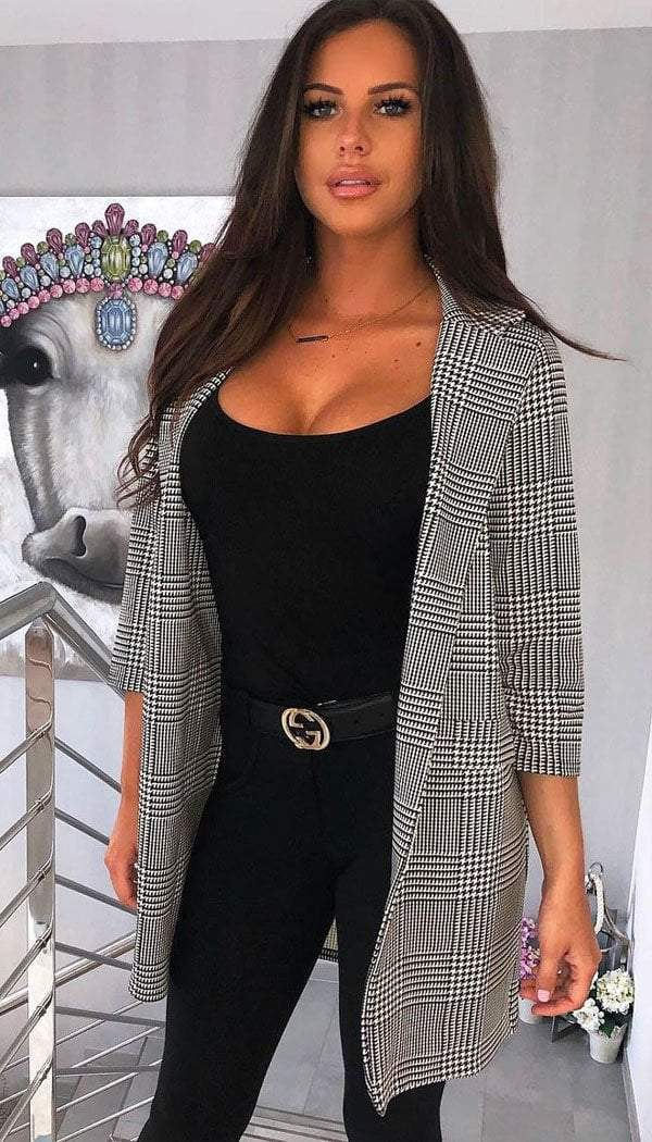 Check Duster Blazer Jacket