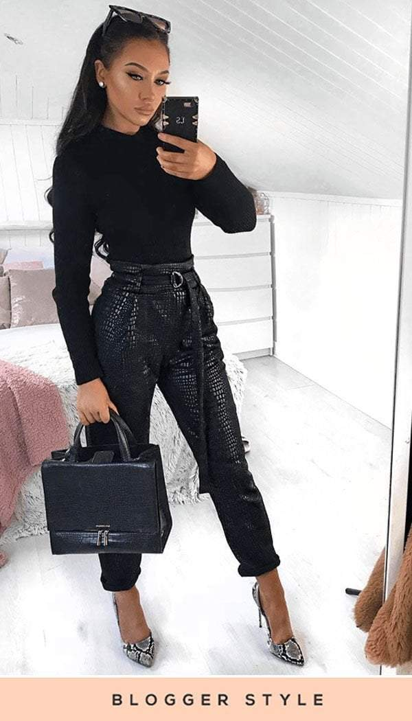 Crocodile Leather Look Belted Trousers In Black