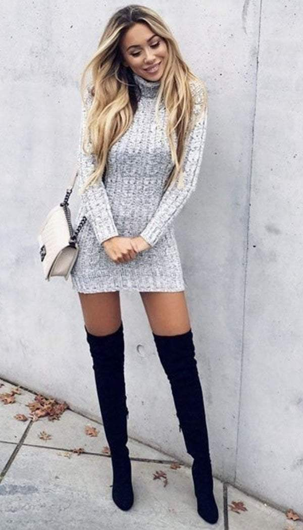 Cable Knitted Polo Neck Jumper Dress (50% SALE)
