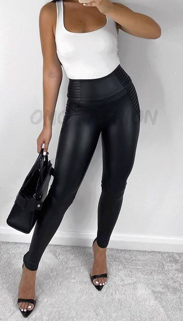 Faux leather Biker Panel High Waisted Leggings