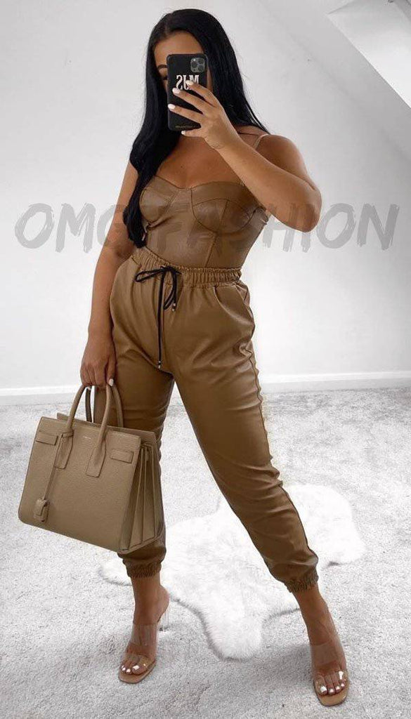 Faux Leather Look Joggers In Camel