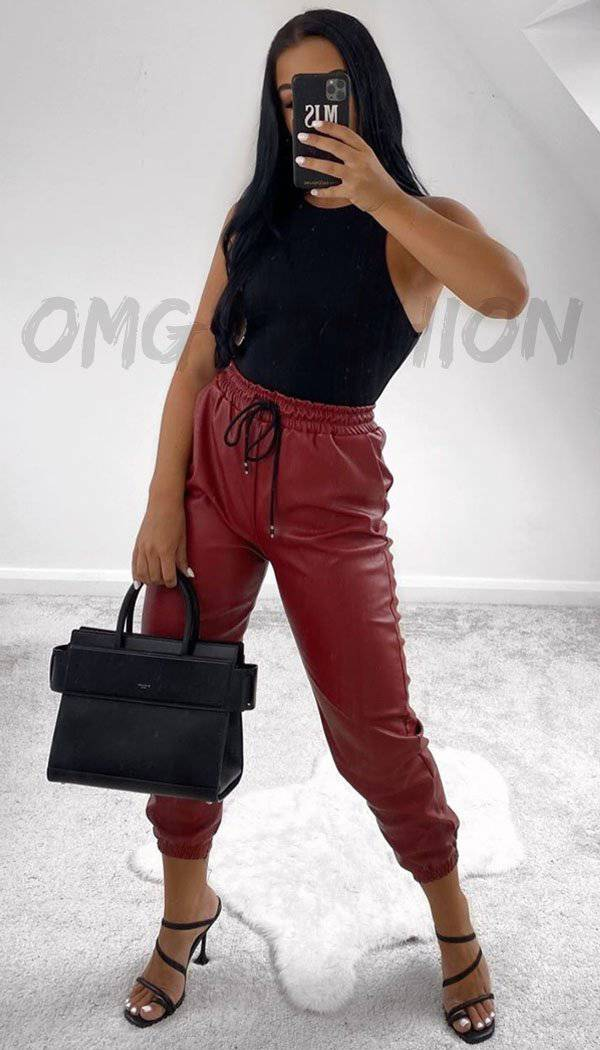 Faux Leather Look Joggers In Wine