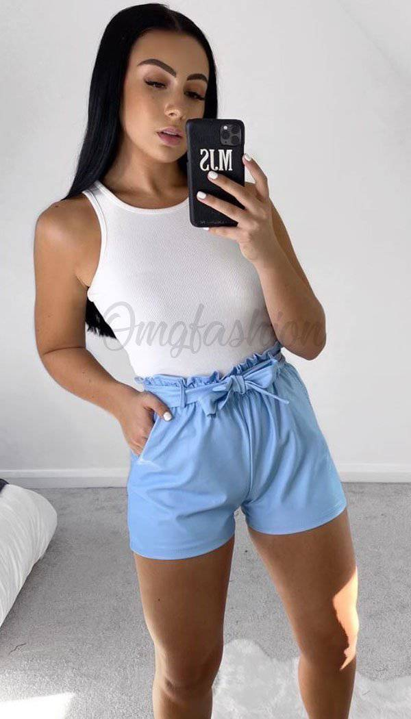 Faux Leather Paper Bag Shorts In Baby Blue