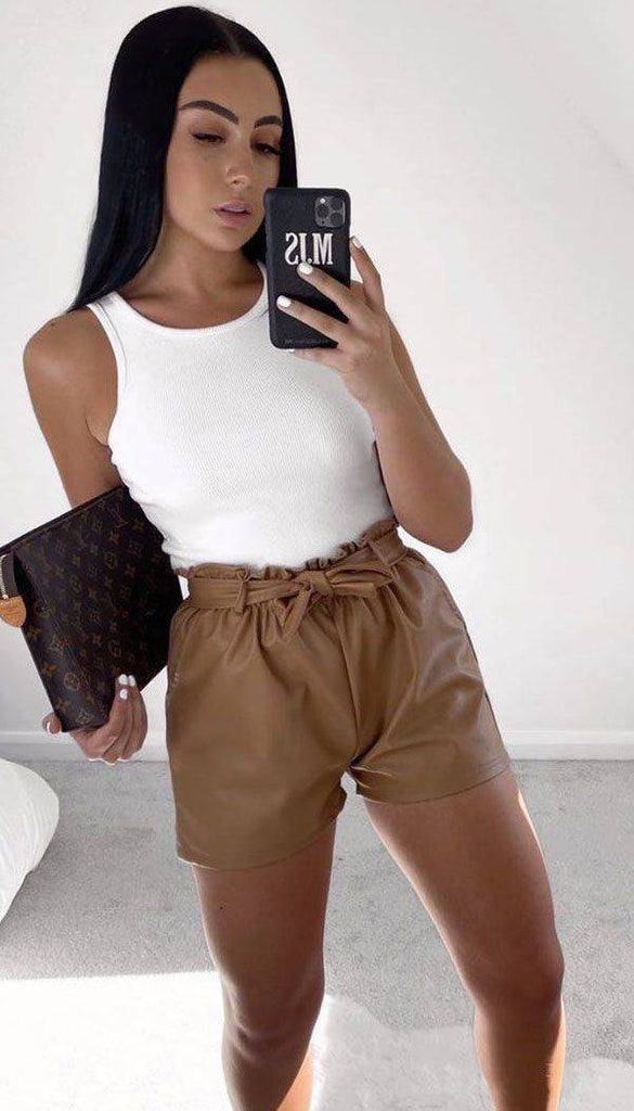Faux Leather Paper Bag Tied Shorts