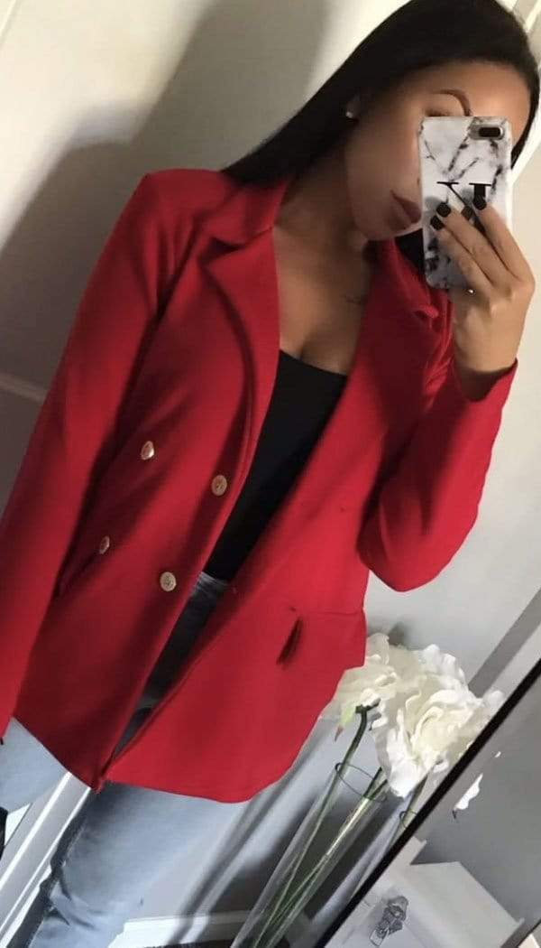 Gold Button Breasted Blazer In Red