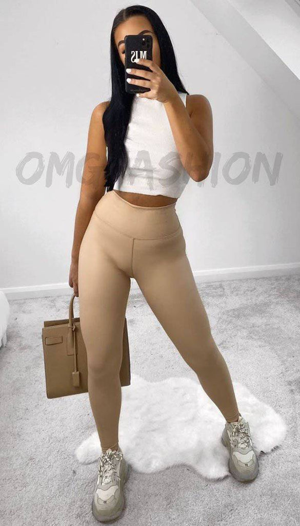 High Waisted Faux Leather Leggings In Beige
