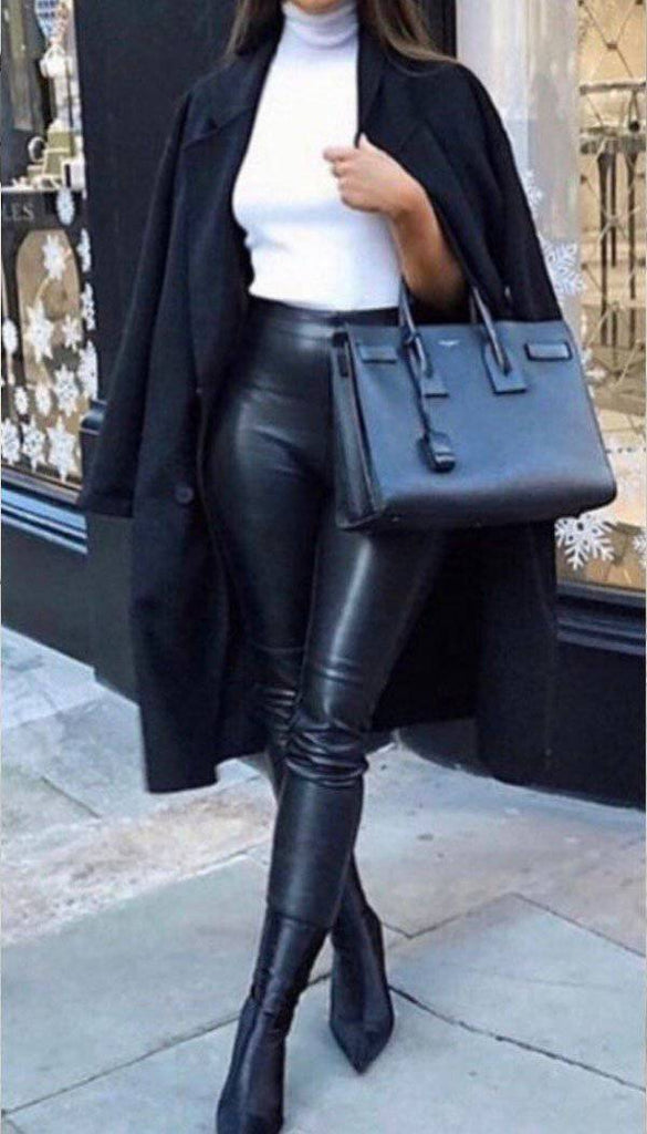 High Waisted Faux Leather Leggings In Black