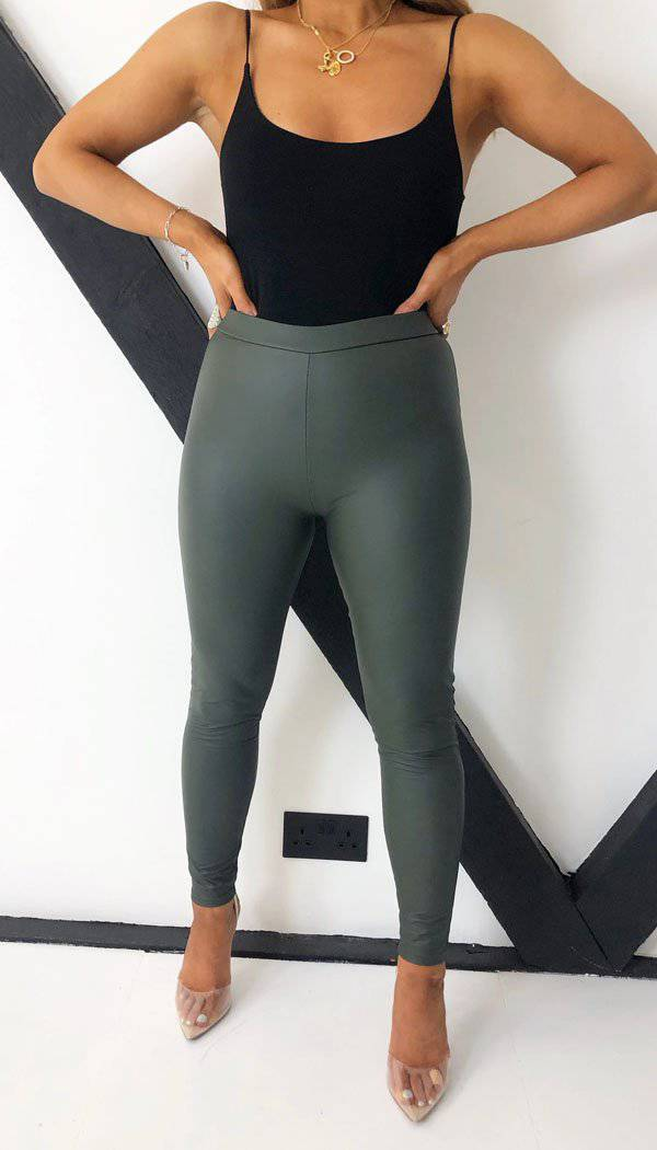 High Waisted Faux Leather Leggings In Khaki