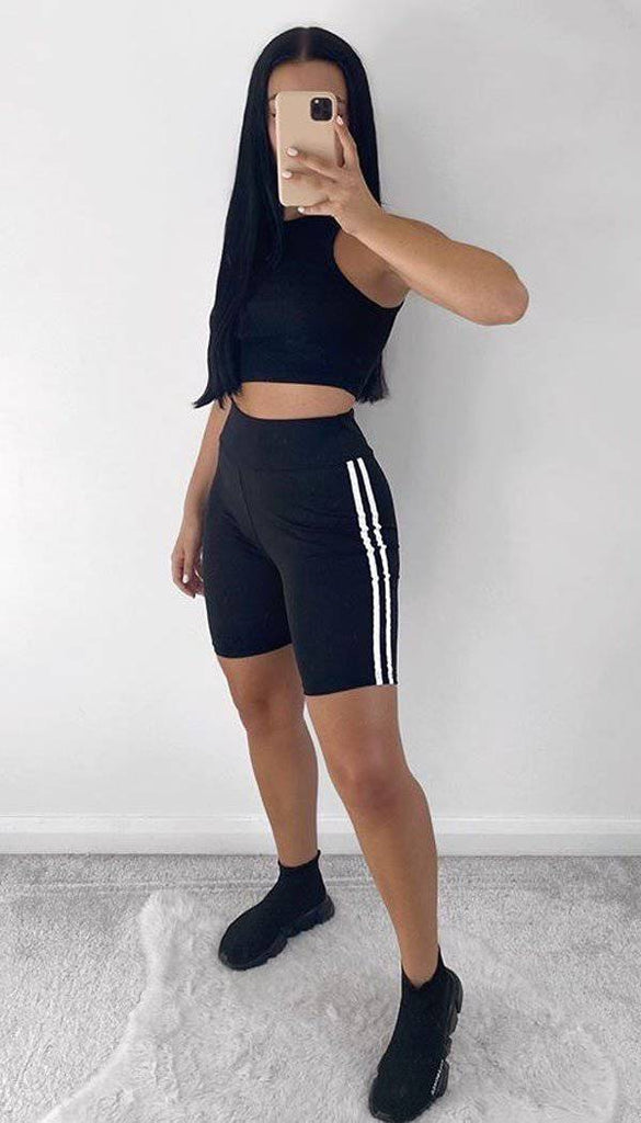 High Waisted Gym Two Stripe Shorts